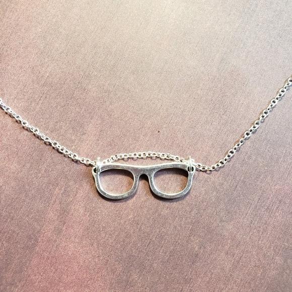 "iamkimberlina Jewelry - 3/$35 - 18"" Silver Plated Necklace w/Glasses Charm"